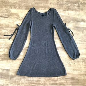 American Eagle XXS Grey Split Sleeve Sweater Dress